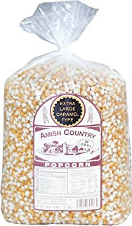 Amish Country Popcorn | 6 lb Bag | Extra Large Caramel Type Popcorn Kernels | Old Fashioned with Recipe Guide (Extra Large Caramel - 6 lb Bag)