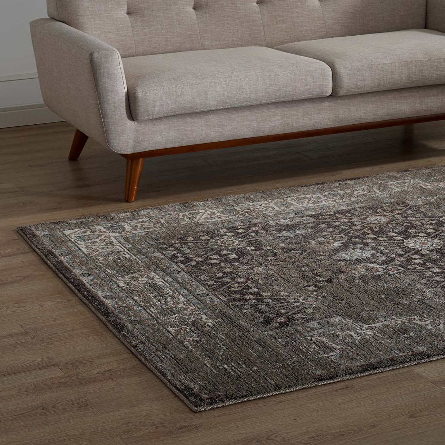 Modway Berit Distressed Vintage Long-awaited Floral Lattice Area Rug B 5x8 Super special price In