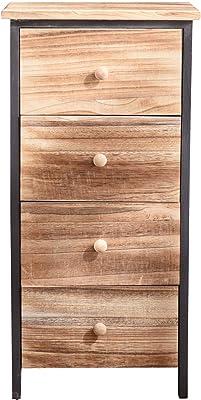 Rebecca Mobili Chiffonnier Chevet 4 Tiroirs Bois Marron Classique Chambre Salle de Bain - 71 x 35 x 25 cm (H x L x P) - Art. RE4547