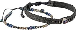 Chan Luu - Sterling Silver Adjustable Bracelets with Semi Precious Stones and Potato Pearls