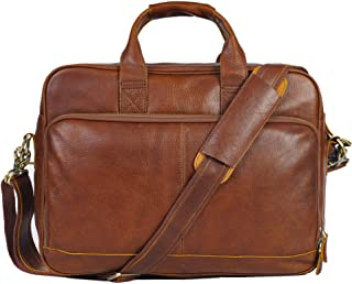 Genuine Leather Briefcase Messenger Bag Sturdy Durable Fits 15.6''Laptop No Fading (Red Brown)