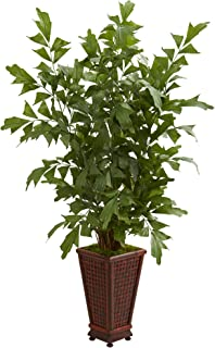 Nearly Natural 5631 5' Fishtail Palm Tree in Decorative Planter Artificial Plant, Green