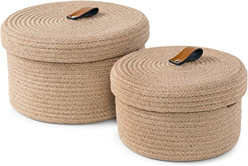 Baskets with Lids – Set of 2 Decorative Baskets for Shelves and Coffee Table – Natural Jute Rope Lidded Basket with G...