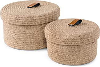 Baskets with Lids – Set of 2 Decorative Baskets for Shelves and Coffee Table – Natural Jute Rope Lidded Basket with Genuin...