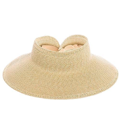 1261a28b San Diego Hat Company UPF 50+ Roll Up Wide Brim Sun Visor Hat - Ultra
