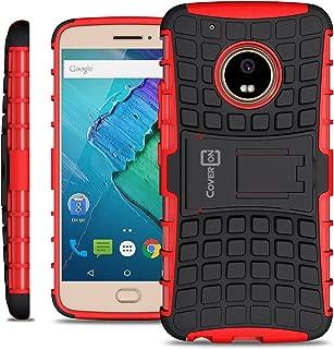 Moto G5 Plus Case, Moto X 2017 Hard Case, CoverON Atomic Series Hybrid Kickstand Protective Dual Layer Hard Phone Cover for Motorola Moto X (2017 Version) / G5 Plus - Red on Black