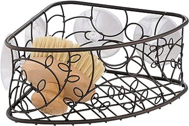 "iDesign Twigz Metal Bathroom Suction Holder, Shower Organizer Corner Basket for Sponges, Scrubbers, Soap, Shampoo, Conditioner, 9"" x 7"" x 4"""