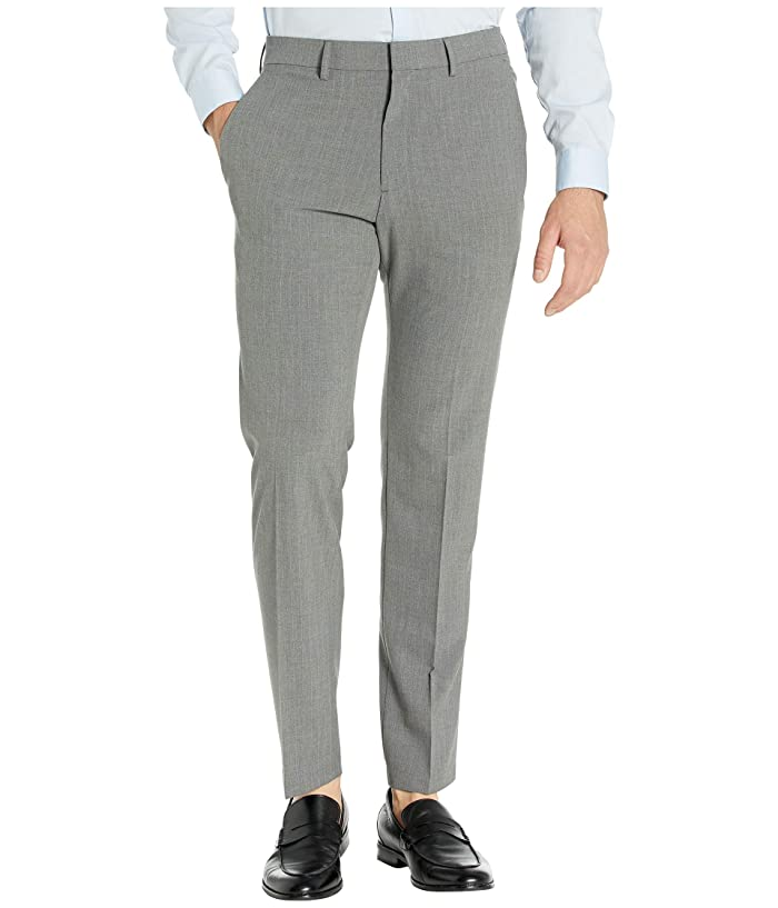 Kenneth Cole Reaction  Stretch Pinstripe Slim Fit Flat Front Dress Pants (Dark Grey) Mens Dress Pants