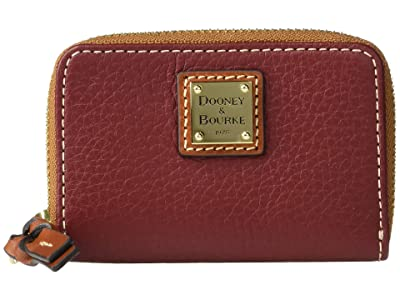 Dooney & Bourke Pebble Zip Around Credit Card Case (Wine/Tan Trim) Handbags