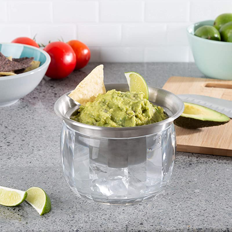 Classic Cuisine Cold Dip Bowl Chilled Serving Dish With Ice Chamber Servingware Container For Dip Hummus Dressing Salsa Guacamole And More