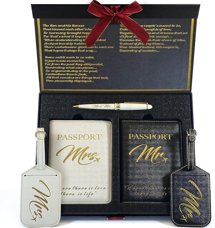 DELUXY Mr and Omaha Mall Mrs Luggage Honeymoon shipfree Tags Es Holder- Passport