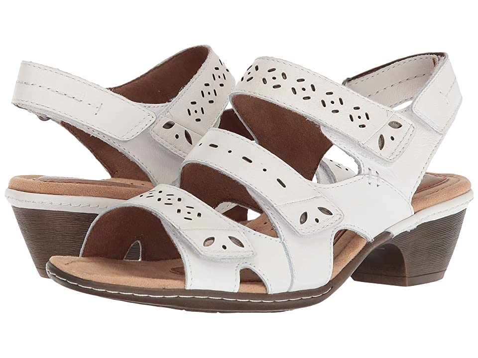Rockport Cobb Hill Collection Cobb Hill Verona 3 Strap (White Leather) Women