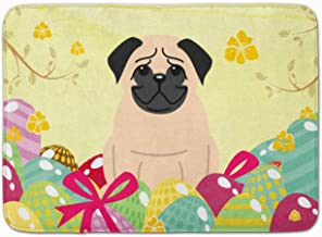 Caroline's Treasures Easter Eggs Pug Fawn Machine Washable Memory Foam Mat doormats, Multicolor