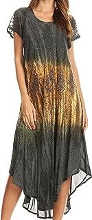 Sakkas Samira Color Block Printed Sheer Cap Sleeve Relaxed Fit Dress   Cover Up