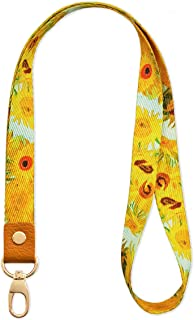 SENLLY Van Gogh Sunflowers Neck Lanyard Strap Premium Quality with Metal Clasp and Genuine Leather, for Id Badges, Card Holder, Keychain, Cell Mobile Phone, Lightweight Items etc