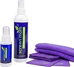 Screen Mom Screen Cleaner Home & Away Bundle – Designed for LED, LCD, Plasma, TV, iPad, Laptop, Computer Monitor, Tablets, Phones, Eyeglasses - Includes 8oz & 2oz Bottle with 4 Microfiber Cloths