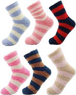 Calcetines Calentitos Mujer Y Niños | Pack De Calcetines Mujer | Calcetines Con Rayas De Colores | Calcetín De Invierno | Calcetines Para Estar Por Casa Mujer