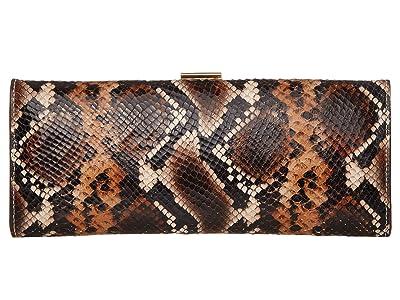 Frances Valentine Eleni Slim Frame Clutch (Natural/Brown) Handbags