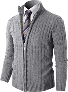 H2H Mens Casual Slim Fit Cardigan Long Sleeve Cable Knitted Zip-up Cardigan Sweater Jacket