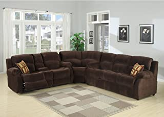 AC Pacific Tracey Collection Contemporary 3-Piece Tufted Living Room Set with Sectional, Queen Sofa Bed, and Reclining Loveseat with Storage Console and Cup Holders, Chocolate