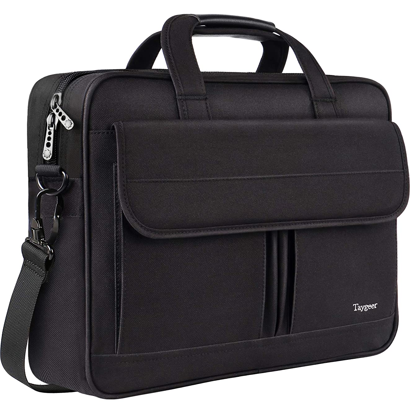 Taygeer Laptop Bag 15.6 Inch, Business Briefcase for Men Women, 15inch Water Resistant Messenger Shoulder Bag with Strap, Durable Office Bag, Carry On Handle Case for Computer Notebook MacBook,Black