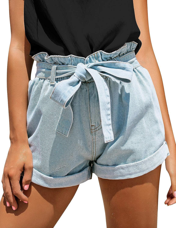 luvamia Women's Casual High Waisted Rolled Denim Shorts Bowknot Waist Jean Shorts