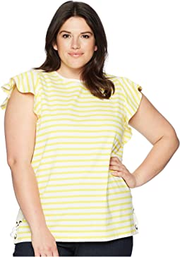 Plus Size Striped Cotton Flutter Sleeve T-Shirt