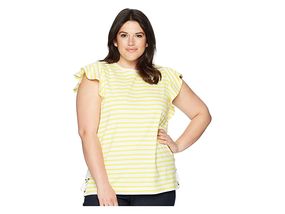 LAUREN Ralph Lauren Plus Size Striped Cotton Flutter Sleeve T-Shirt (Mascarpone Cream/Hampton Yellow) Women