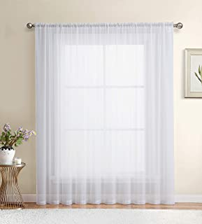 HLC.ME White Window Sheer Voile Curtain Panel for Sliding Patio Glass Door - Extra Wide Curtain - 100 x 84 inch Long