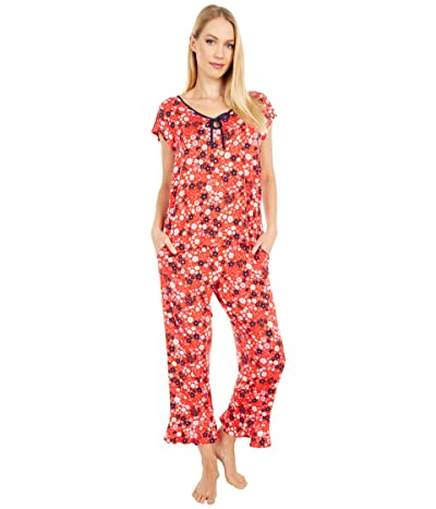 Kate Spade New York Modal Spandex Jersey Cropped Pajama Set (Wild Garden) Women