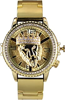 Techno King Men's Iced Out Hip Hop Metal Band Watch with Lion Spinner(6977GM-GD)