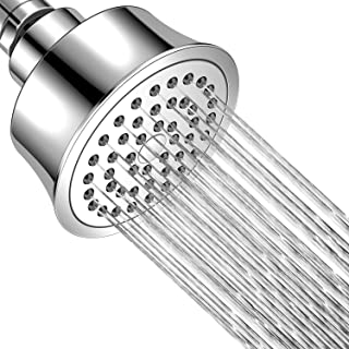JIESUO High Pressure Shower Head, 3.5″ Fixed Chrome Rain Showerhead, Adjustable ABS Swivel Ball Joint with Filter, Off The Ultimate Shower Experience Even at Low Water Flow and Pressure