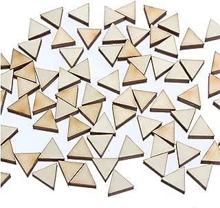 yuhoshop 100 pcs 1CM Diameter [Triangle Shaped] Mini Small Wooden Piece Embellishments - Scrapbooking Shapes for Craft Decor Button