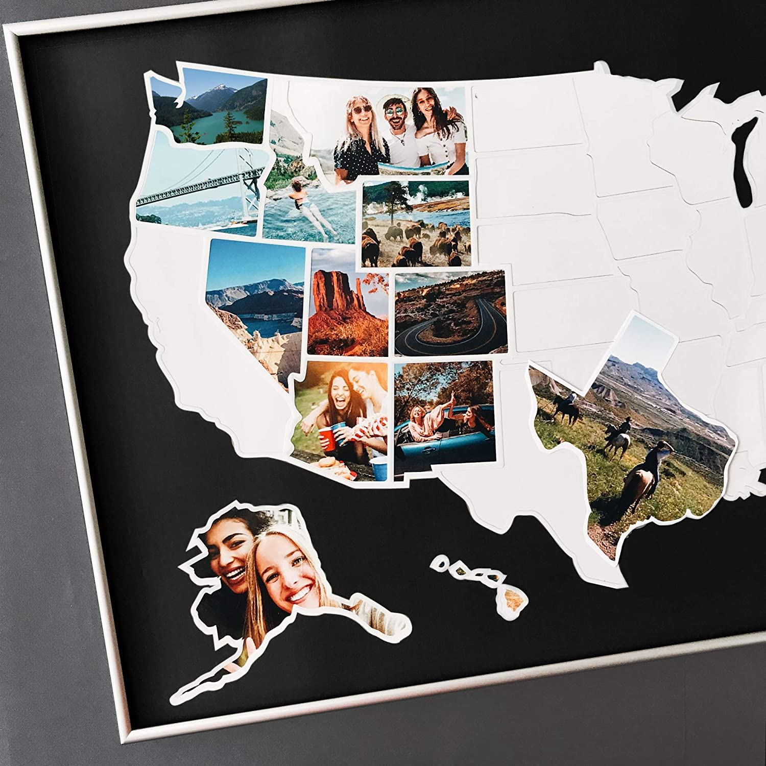 USA Photo Map - 50 States Travel Limited Ranking integrated 1st place price sale M 36 x 24 in Unframed