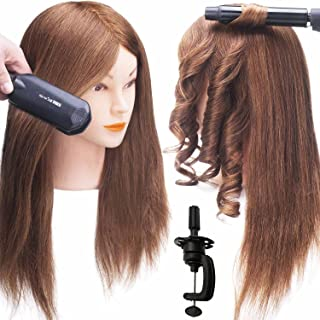 SILKY 100% Real Hair Mannequin Head with 9 Tools and Clamp, Hairdressers' Practice Training Head and Cosmotology Doll Head for Hairstyling and Braid - Dark Brown