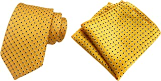 Men Yellow Suit Tie Handkerchief Formal Necktie & Pocket Square Gift Set