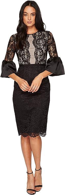 Maggy London - Barcelona Scroll Lace Midi Sheath Dress w/ Scallop Hem