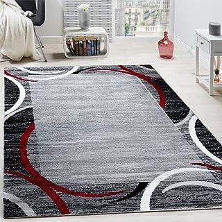 Paco Home Tapis de Salon Moderne avec Bordure Tapis De Marque Moucheté Gris Noir Rouge, Dimension:160x220 cm