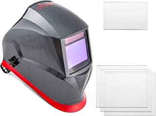 Welding Helmet by Aver | Auto Darkening Welder Helmet 4C Lens Solar Powered Carbon Fiber Welding Hood Best Optical Class 1/1/1/1 Shade Range 4/9-13 Mig Tig Arc