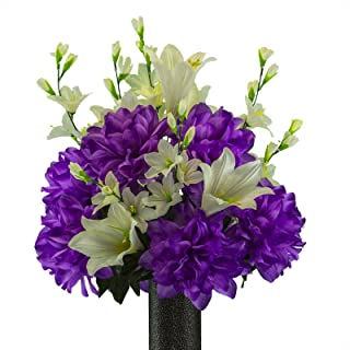 Ruby's Silk Flowers Lily with Purple Dahlia Mix, Featuring The Stay-in-The-Vase Design(C) Flower Holder (MD2193)