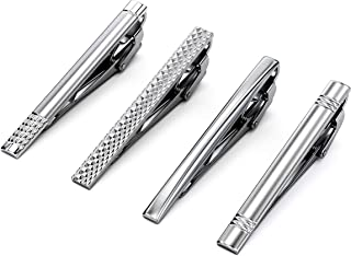 Velette Tie Clips for Men, Classic Tie Pins Set of 4 (Silver)