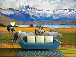 wall26 - Beautiful White and Gray Horses Grazing in a Meadow near the Lake. on the Horizon, Towering Cliffs Torres Del Paine - Removable Wall Mural   Self-adhesive Large Wallpaper - 66x96 inches