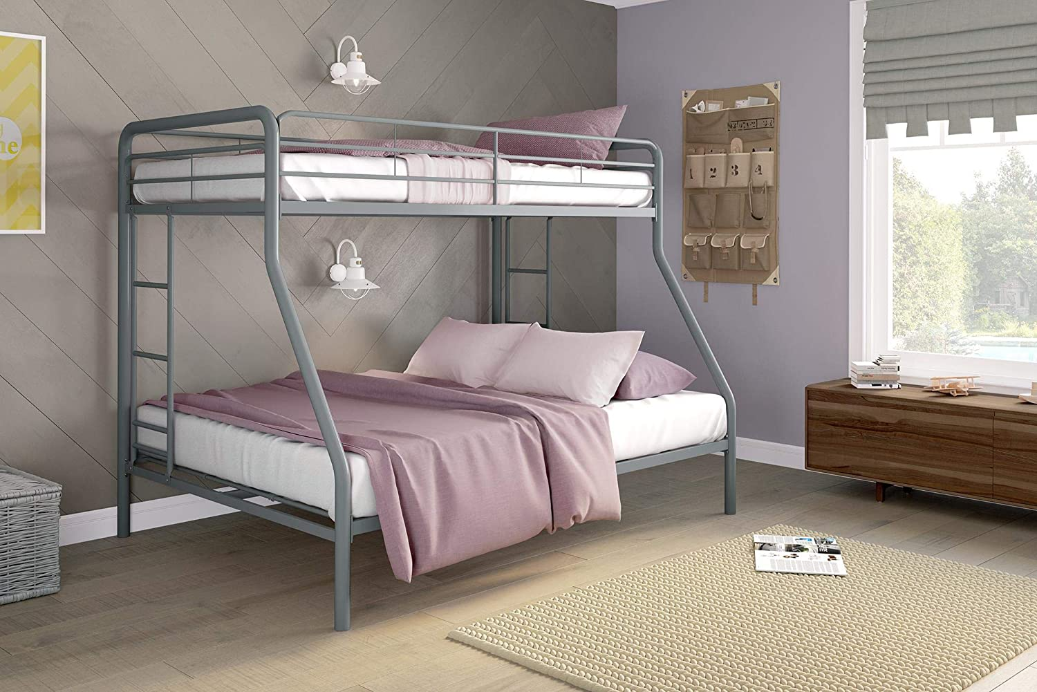 Amazon Com Dhp Twin Over Full Bunk Bed With Metal Frame And Ladder Space Saving Design Silver Furniture Decor