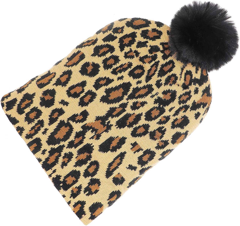 Newfancy Kids Baby Girls Winter Beanie Hat Leopard Print Knit Warm Pom Skull Cap Hat Toddler