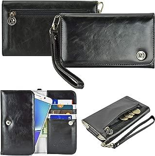 Xboree Case+Stylus PU Leather Purse/Clutch/Pouch Fits Apple iPhone Samsung LG Motorola HTC ZTE Universal Women's Cute Wristlet Strap Flip Case Wallet - Black Large. Fits The Following Models: