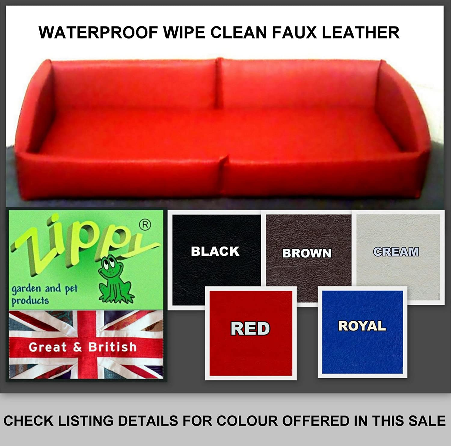 BLACK Faux Leather  Double Zippy Pet Dog Bed  Wipe Clean  Easycare Bed