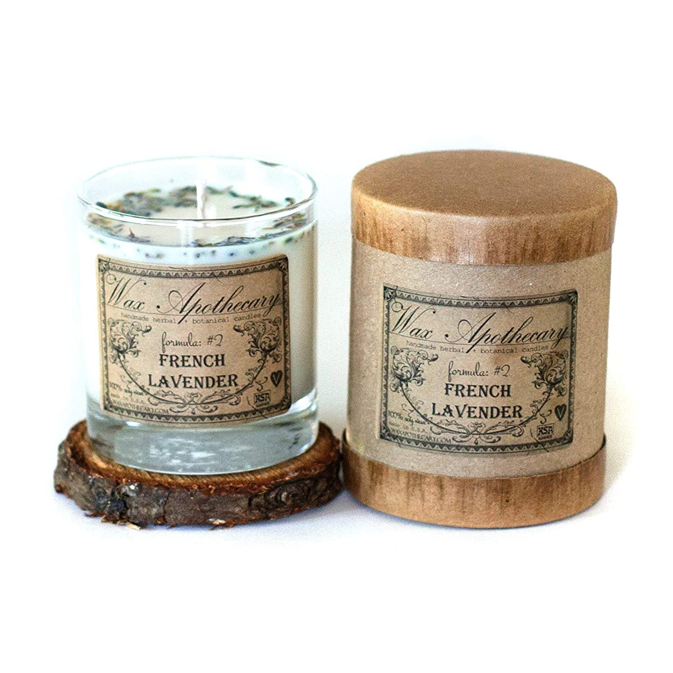French Lavender 7oz Botanical Candle in Scotch Glass