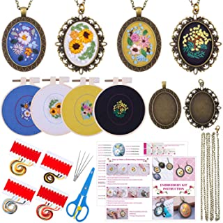 Embroidery Pendant Kit for Beginners, Shynek Embroidery Starter Kit with Pattern and Instructions Cross Stitch Kit Includi...