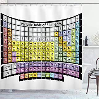 Ambesonne Chemistry Shower Curtain, Periodic Table of Elements School Theme Educational Science Class Composition, Cloth Fabric Bathroom Decor Set with Hooks, 70
