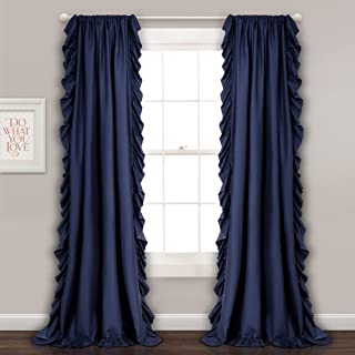 Lush Decor Reyna Window Curtain Panel Pair, 54 x 84, Navy